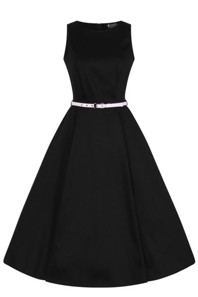 lady vintage hepburn black with pink belt dress