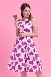 lady vintage hepburn love hearts with rose dress