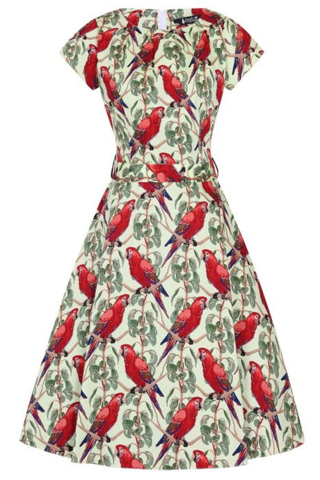 lady vintage unique parrots dress