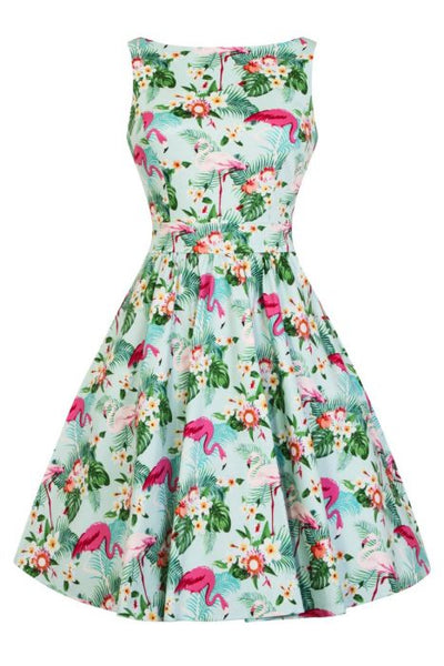 New // LADY VINTAGE 'Caribbean Flamingos' Dress // Size 18