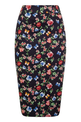 New // LADY VINTAGE 'Secret Garden Wiggle Skirt ' // Sizes 16 & 18