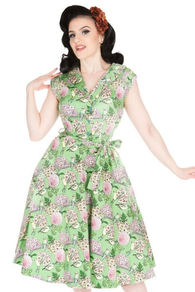 New // LADY VINTAGE 'Florence - Chartreuse Oiseaux' Dress // Size 14