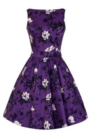 New // LADY VINTAGE 'Wild Roses - Violet' Tea Dress // Size 18