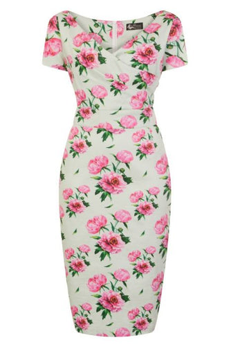 New // LADY VINTAGE 'Ursula Wiggle - Romantic Floral' Dress // Size 22/24