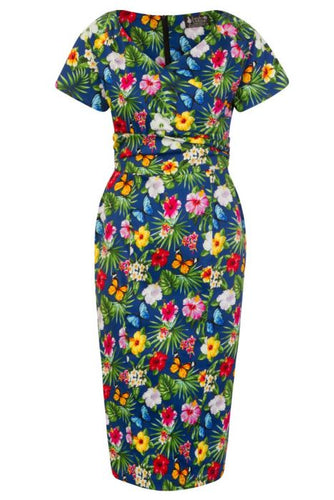 New // LADY VINTAGE 'Verity - Summer Floral - Navy' Dress // Size 18
