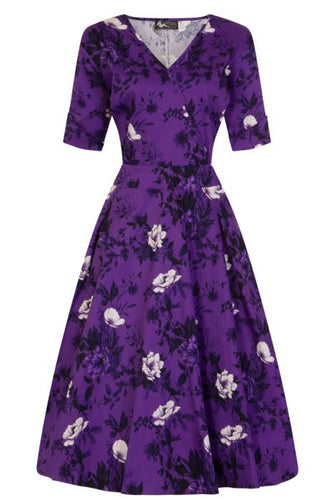 New // LADY VINTAGE 'Estella - Wild Roses - Violet' Dress // Size 26-28