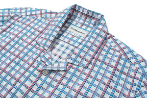 Camp-Collar Trifold Checked Shirt