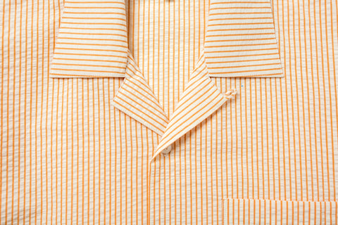 Relaxed Seersucker Orange Shirt