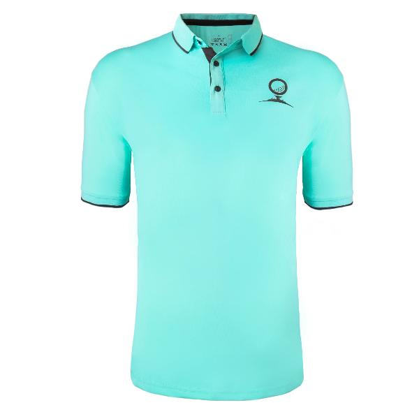 19th Hole Men's Dry-Fit Spandex Polyester Golf Polo - Seafoam Blue Green