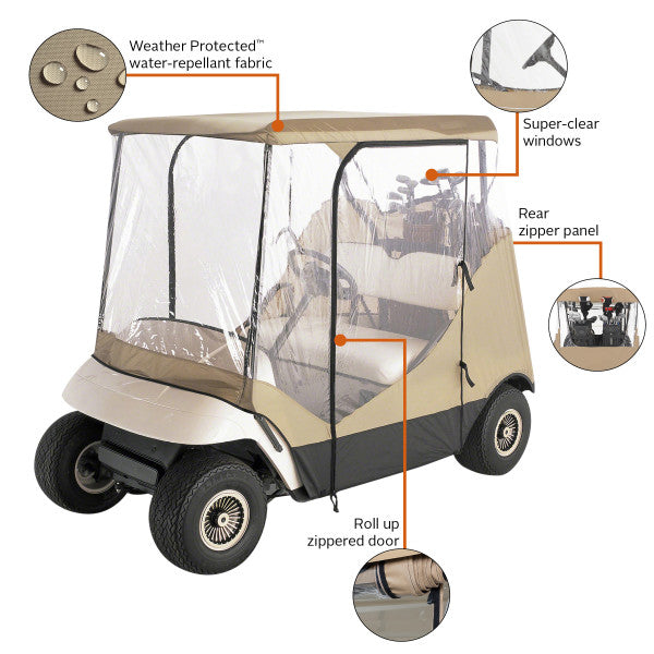 Classic Accessories Fairway 2-Person Travel 4-Sided Golf Cart Enclosure