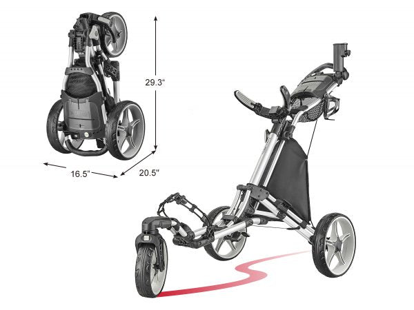 CaddyTek One-click Folding 3 Wheel Golf Push Cart with Swivel Front Wheel, Version 8