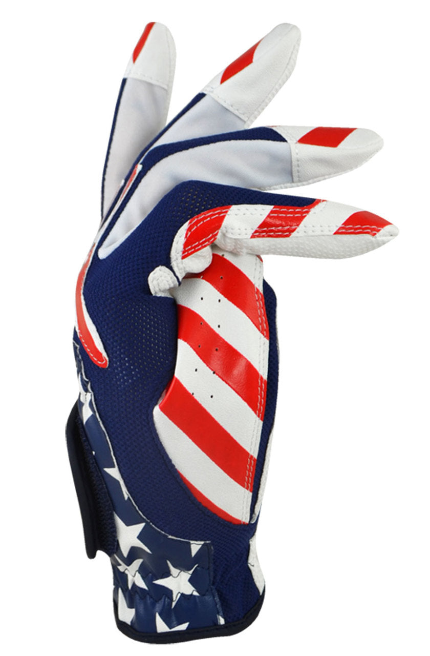 USA Multi Fit Golf Glove White/Blue/Red One Size (Right Handed Player)