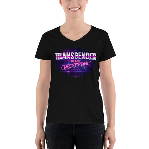 Transgender Means Cyberpunk: Casual V-Neck Shirt