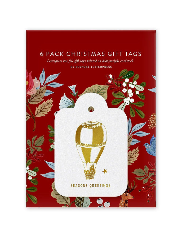 Folk Christmas Seasons Greetings Gift Tags - 6 pack