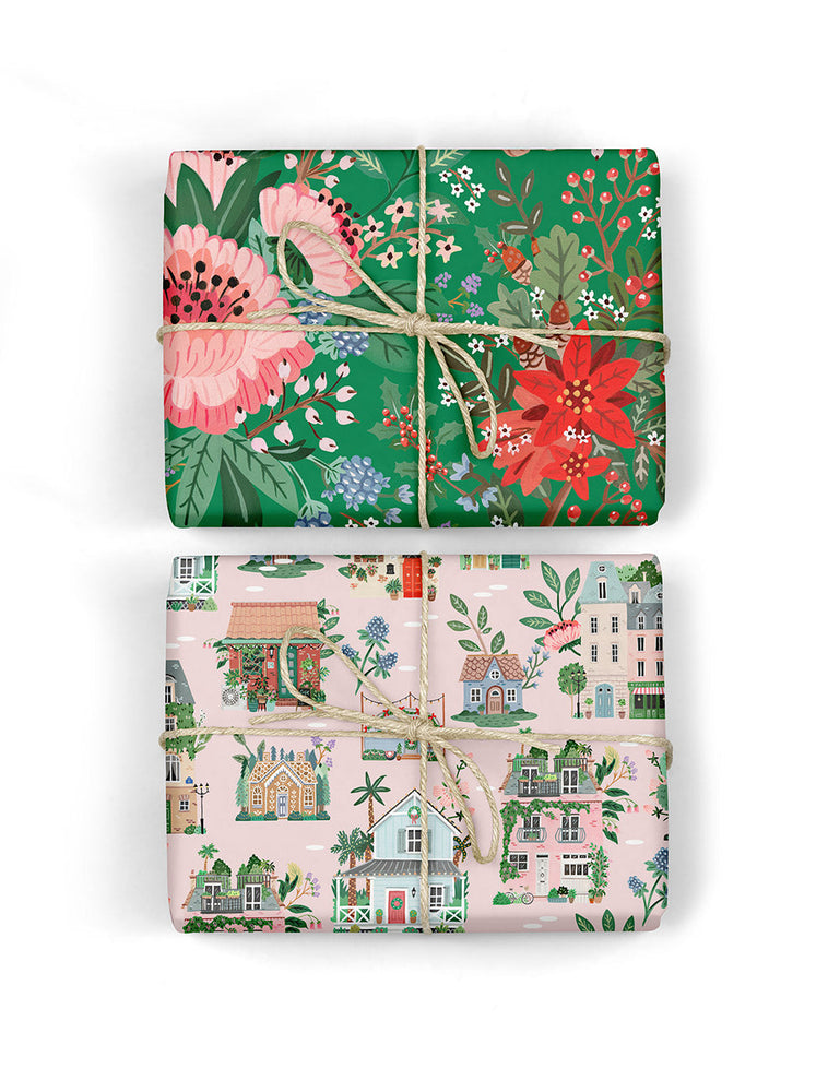 Houses / Green Floral 6pk