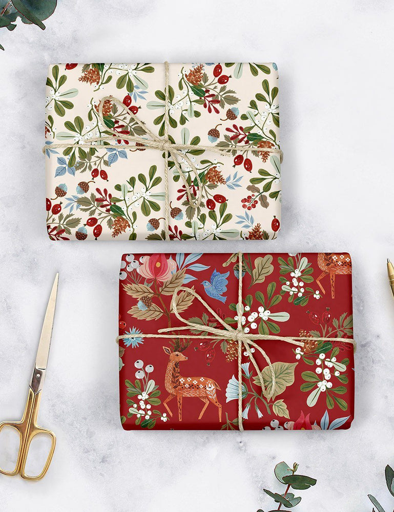Folk Christmas gift wrap