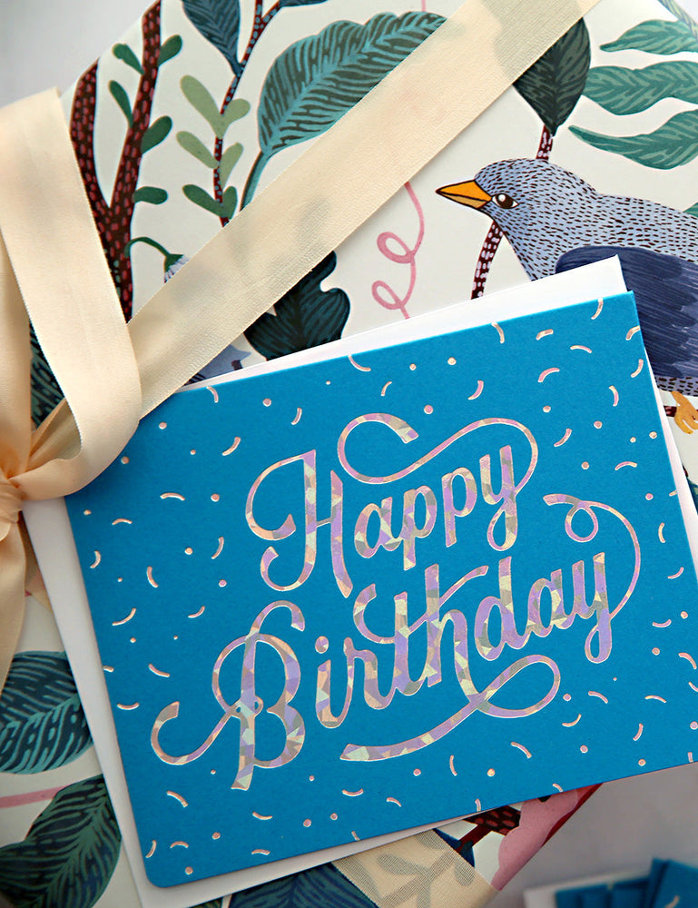 Happy Birthday Letterpress Greeting Card - 6 Pack