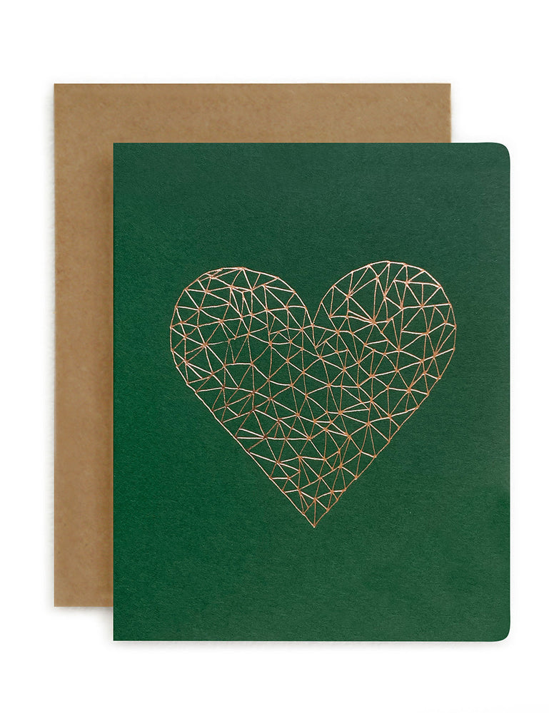 Geometric Heart Green