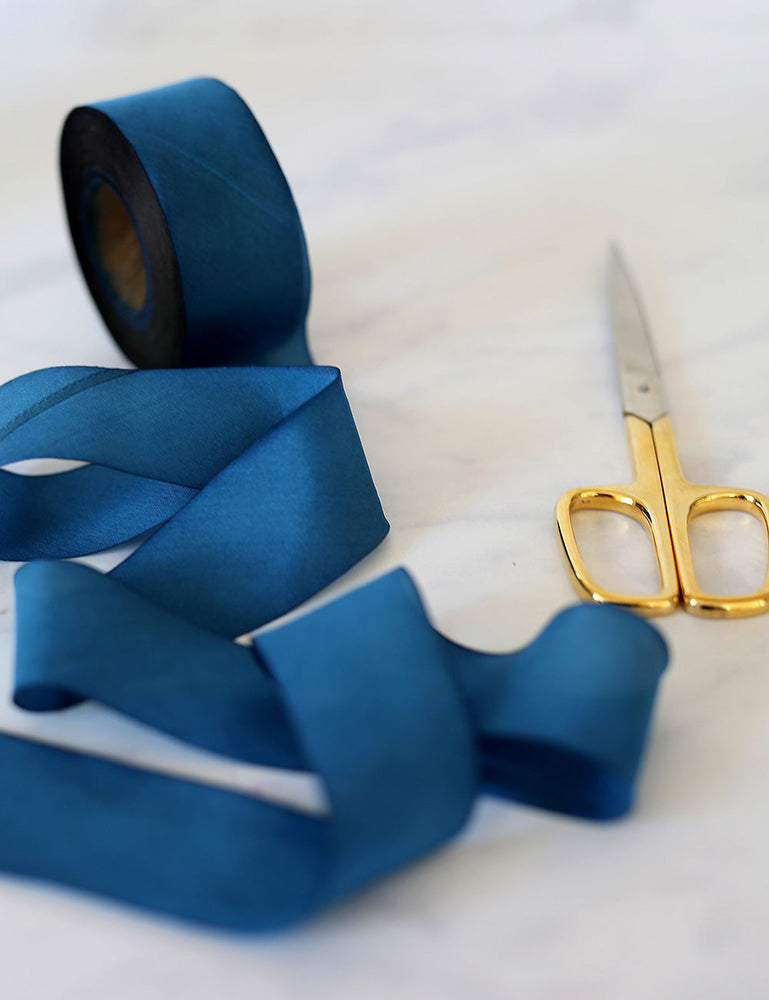 Navy Silk Ribbon - 3 metres