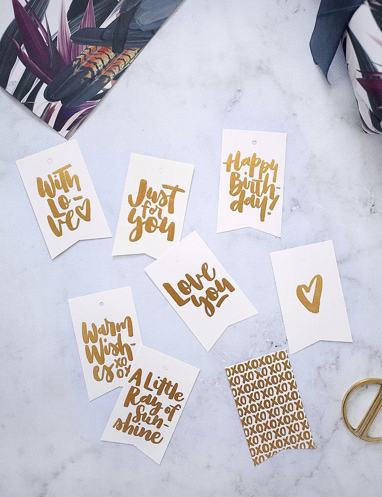 Lettering Gift Tags - 8 pack assorted