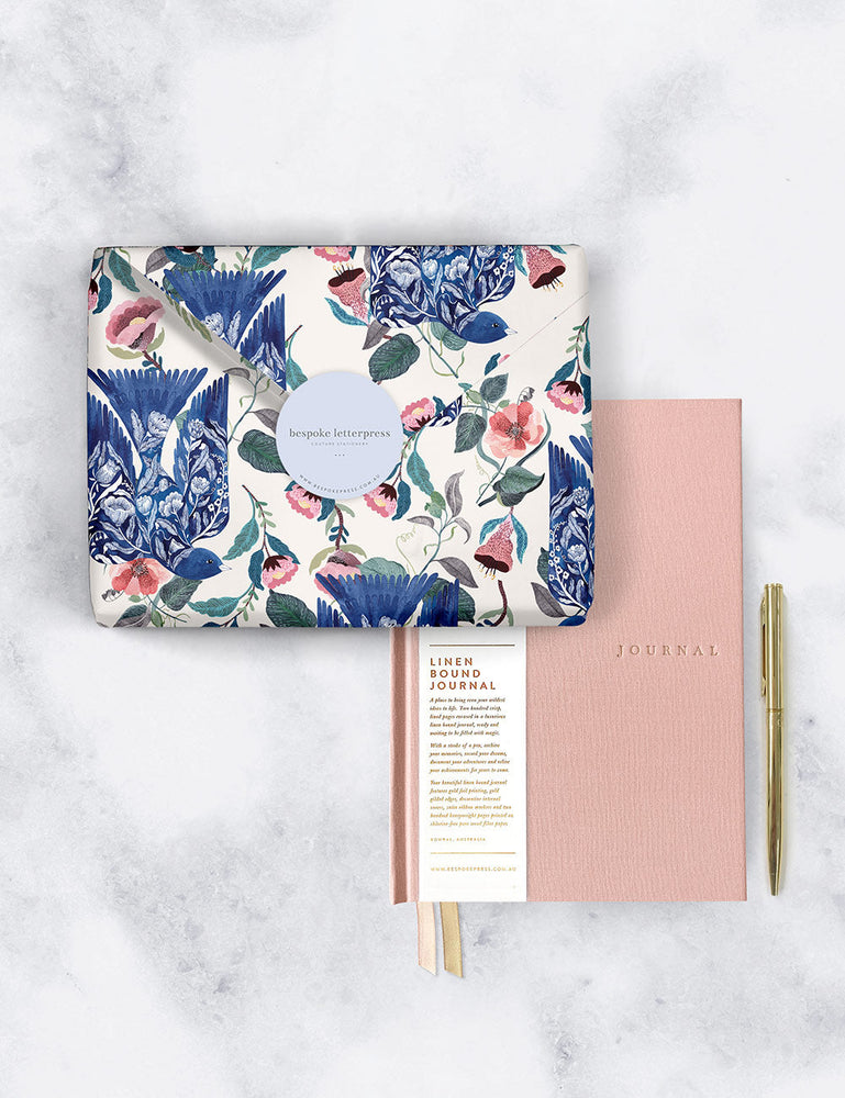 Gift Set - Linen Blush Journal - Blue Bird