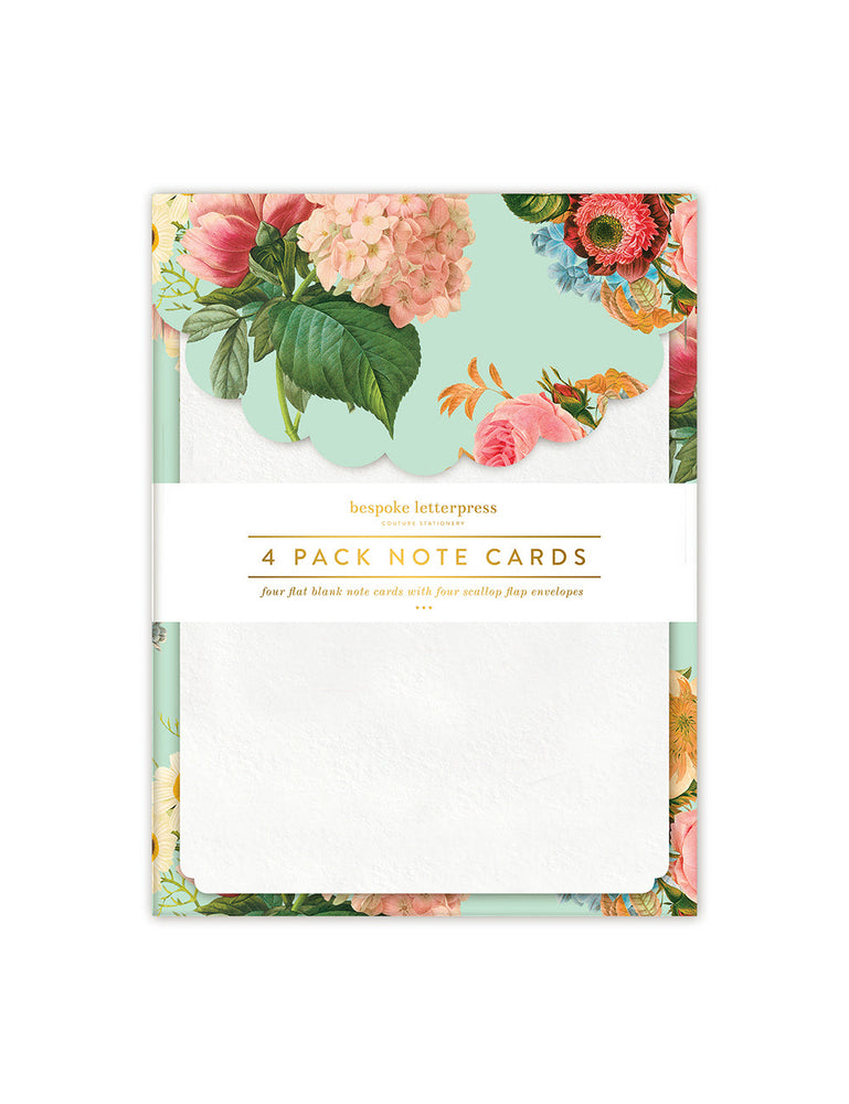 Floral Bouquet Scallop Notecard Set