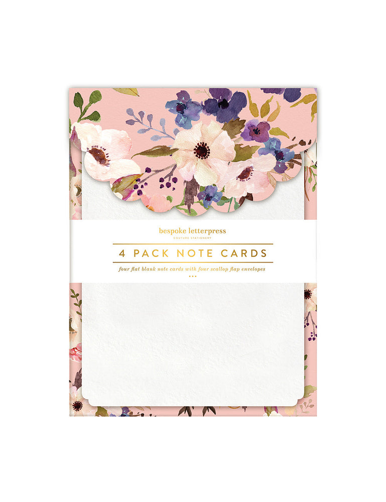Watercolour Floral Scallop Notecard Set