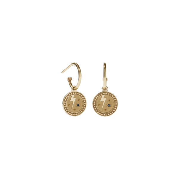 MEADOWLARK AMULET STRENGTH EARRINGS - GOLD PLATED BLUE SAPPHIRE