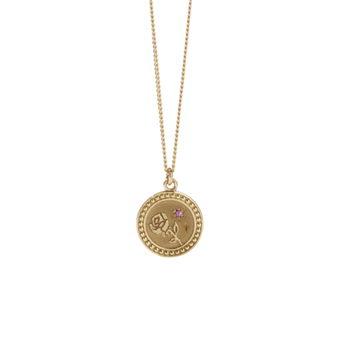 MEADOWLARK AMULET LOVE NECKLACE - PLATED GOLD PINK SAPPHIRE