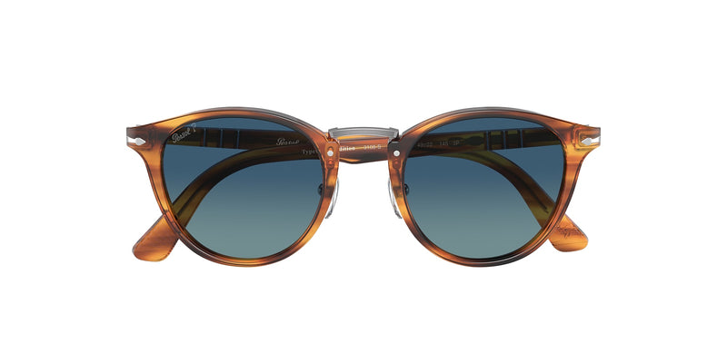 PERSOL | PO3108S 960/S349 | STRIPED BROWN WITH BLUE POLARIZED
