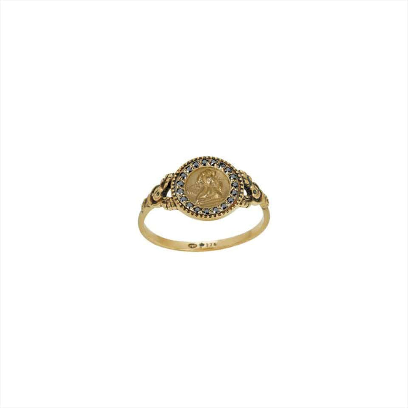 FEIDT Ring Angel Raphael 9ct Yellow Gold w/ Grey Sapphires