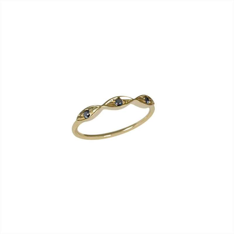 FEIDT Ring | Triple Eye | 9ct Yelow Gold w/Grey Sapphire | Size 52 EYE402J
