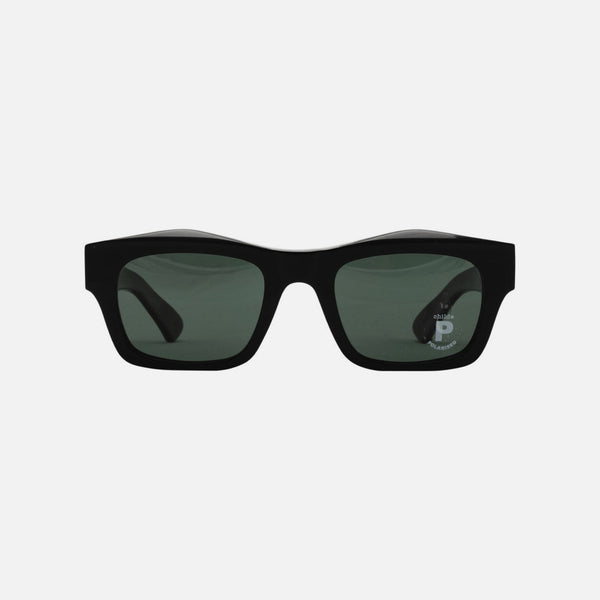 CHILDE | FOLSOM Bio-Acetate Gloss Black | Green Polarised Lens