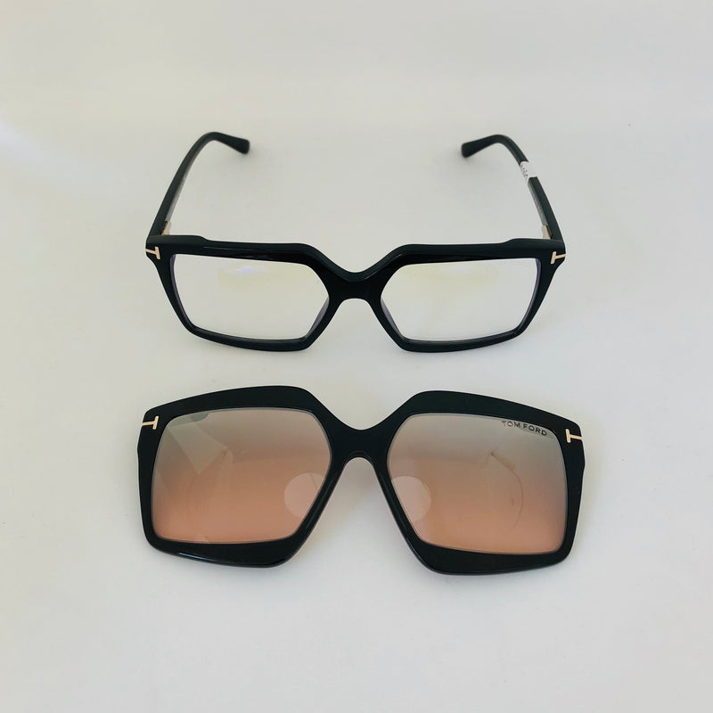 TOM FORD 5689 B001 BLUE BLOCK OPTICAL + CLIP ON