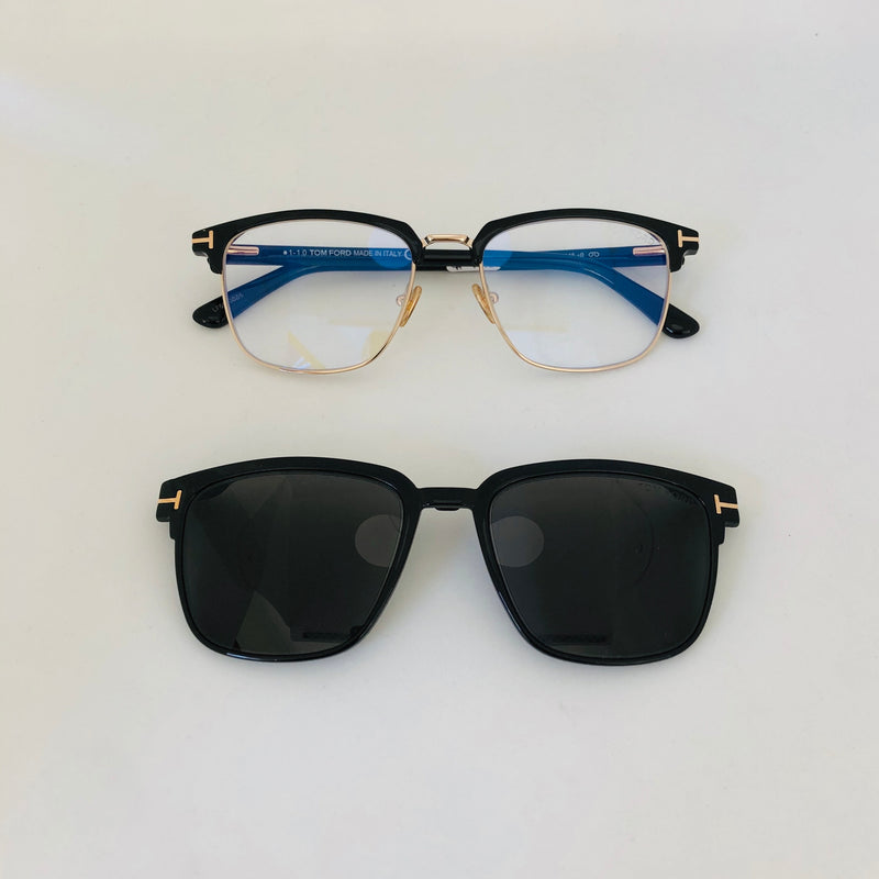 TOM FORD 5683 B001 BLUE BLOCK OPTICAL + CLIP ON