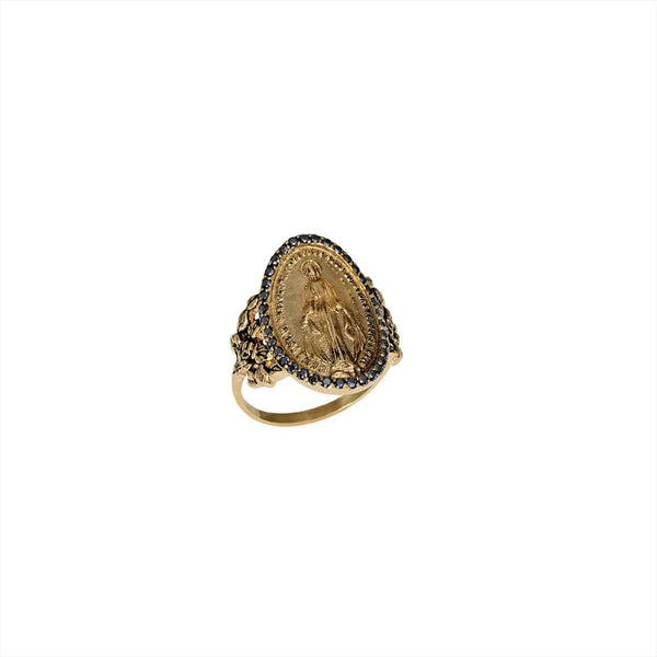 FEIDT | RING | MADONE OVAL | 9CT YELLOW GOLD W/ GREY SAPPHIRE