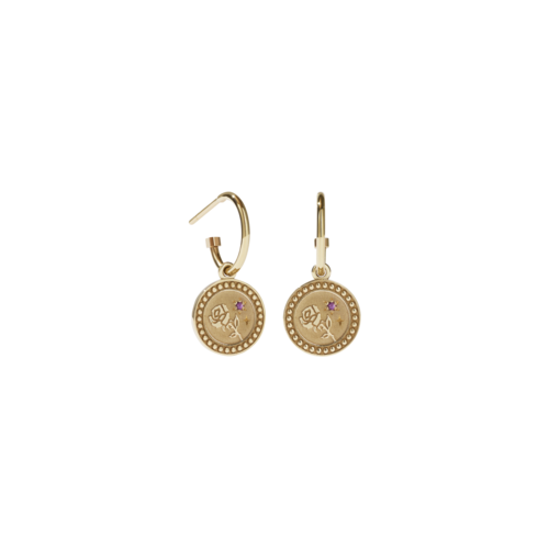 MEADOWLARK AMULET LOVE EARRINGS - GOLD PLATED PINK SAPPHIRE