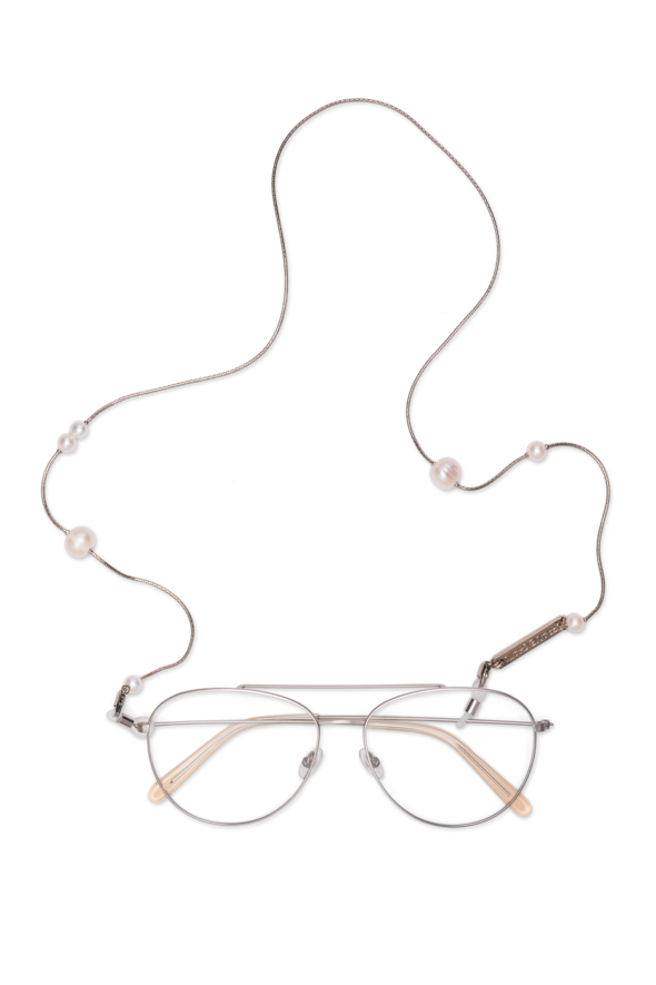 FRAME CHAIN | DROP PEARL | WHITE GOLD