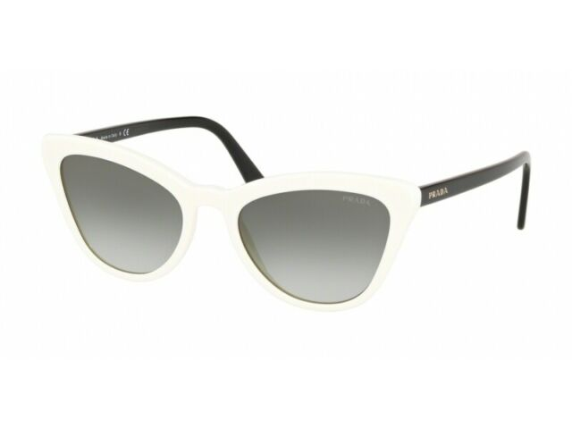 PRADA | PR 01V 7S3-0A7 | CATS EYE IVORY / BLACK ARMS W/ GREY GRADIENT 2N