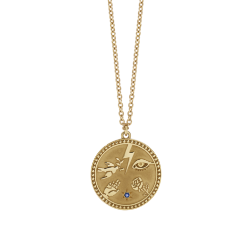 MEADOWLARK TALISMAN NECKLACE - PLATED GOLD BLUE SAPPHIRE