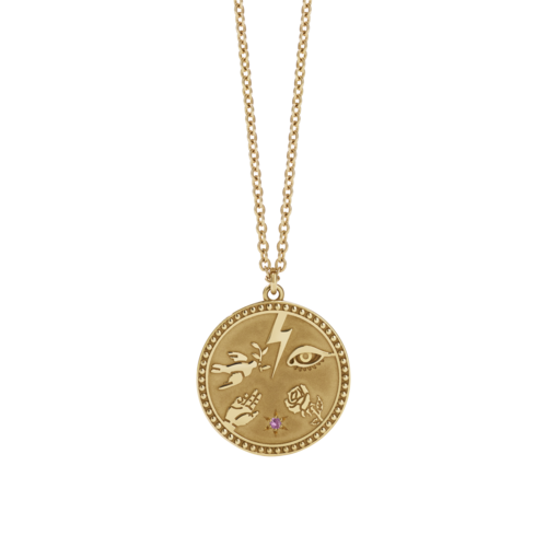 MEADOWLARK TALISMAN NECKLACE - PLATED GOLD PINK SAPPHIRE