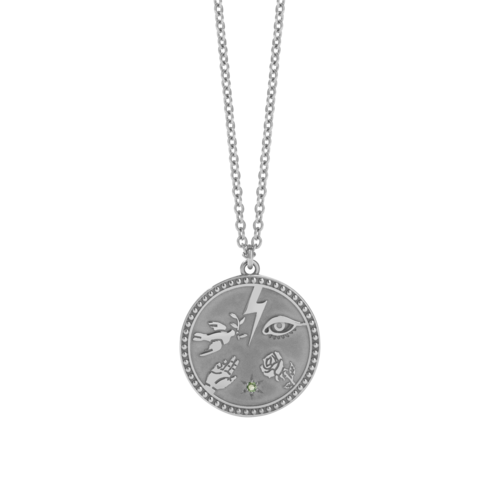 MEADOWLARK TALISMAN NECKLACE - STERLING SILVER GREEN SAPPHIRE
