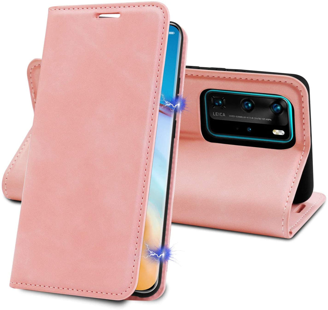 Huawei P40 Pro Case Pink Leather