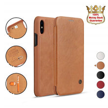 Load image into Gallery viewer, iPhone XR Brown Luxury Wallet Case