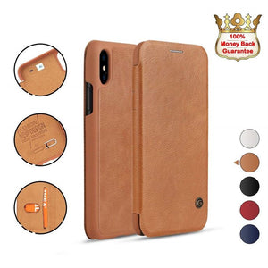 iPhone XR Brown Luxury Wallet Case