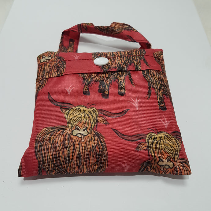 Eco Chic Foldable Shopper Highland Cows