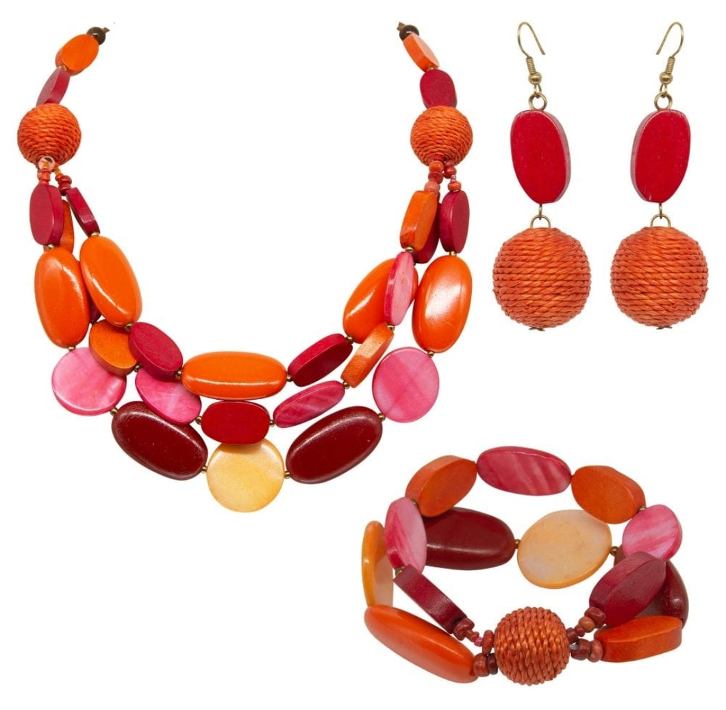 Park Lane Wood and Resin Jewellery Set - SPECIAL OFFER - Available in 3 colours