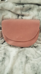 Suede effect half moon cross body bag