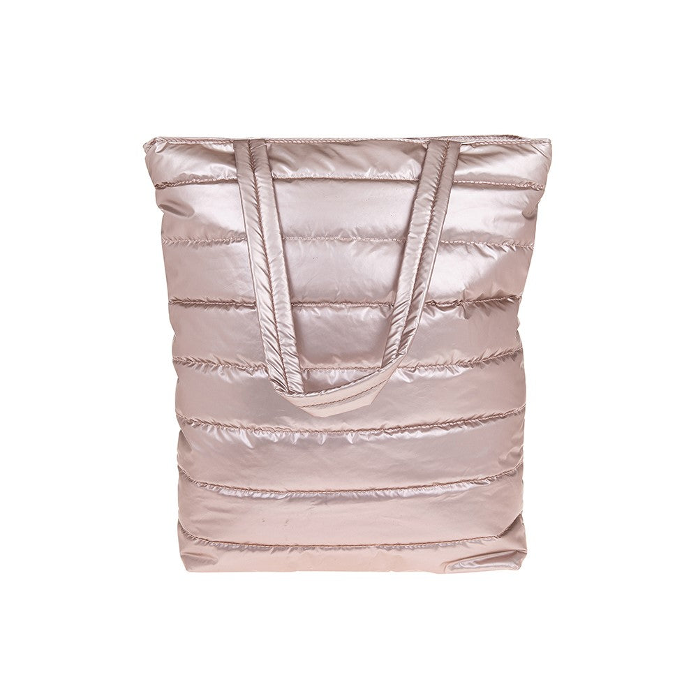 Pink Metallic Quilted Tote Bag