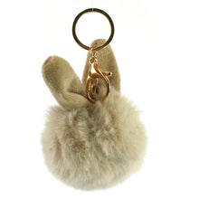Load image into Gallery viewer, Rabbit Pom Pom keyring in Taupe.